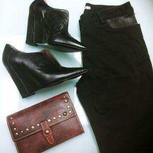 T by Alexander Wang Black Leather & Denim Skinnies
