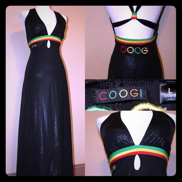 COOGI Long Black Maxi Dress