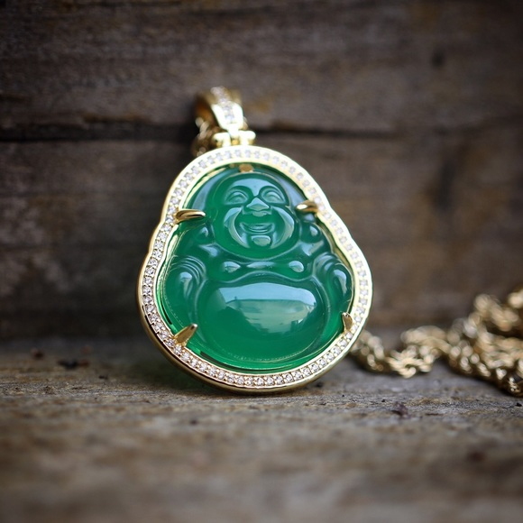 Ts verniel accessories hip hop gold green jade buddha pendant hip hop gold green jade buddha pendant necklace mozeypictures Choice Image