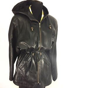 Vintage Jackets & Blazers - Vintage Express Leather Parka Coat Jacket