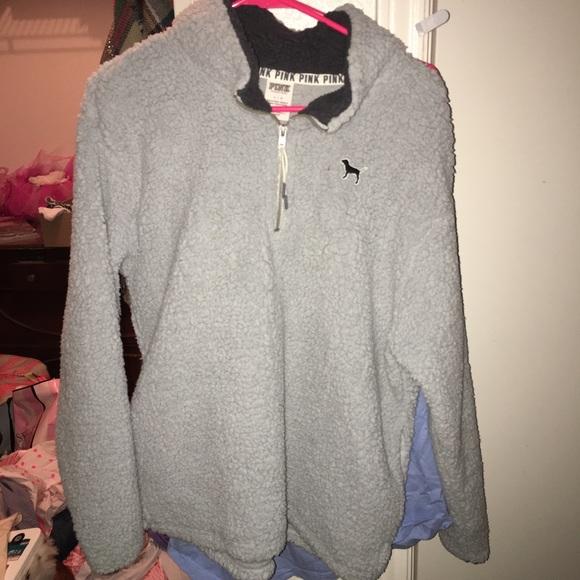 48e925a06e110 VS Pink Boyfriend Sherpa Half Zip
