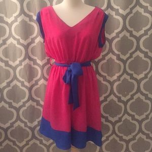 Dresses & Skirts - Pink and blue dress with blue ribbon