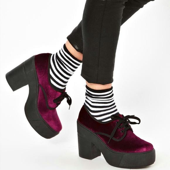 7ecd02895d3b ASOS Shoes - ASOS Portobello Bordeaux velvet platform shoes