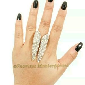Jewelry - Gold paved knuckle ring