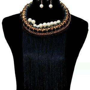 Jewelry - Navy yarn fringe necklace
