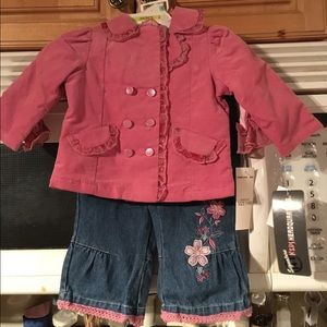 Kids Headquarters Other - NWT Kids Headquarters 3 pc Pink Top Jeans Set 3-6M