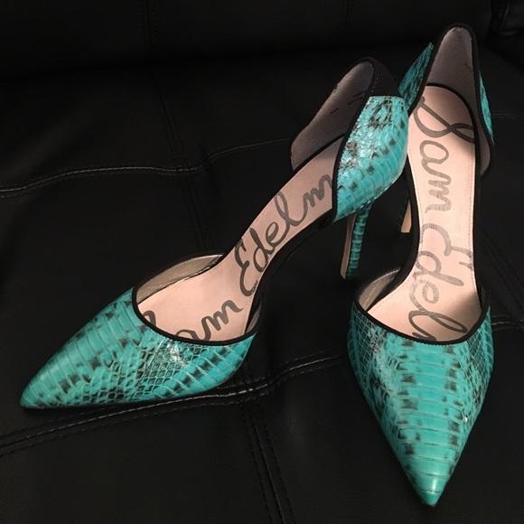1684821914d Sam Edelman turquoise snake skin leather pumps. M 5876feb54e8d17319f0443b4