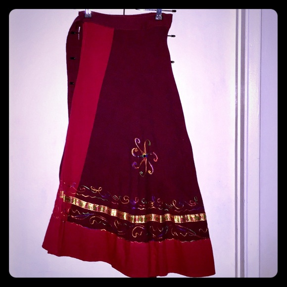 Dresses & Skirts - Embroidered Wrap Skirt