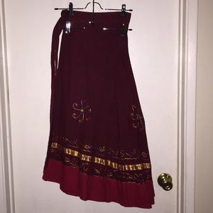 Skirts - Embroidered Wrap Skirt