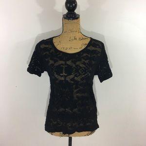 Madewell Black Lace Tee