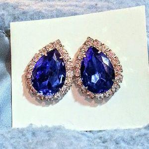 "Bright Cobolt blue teardrop ""Princess Di"" earrings"