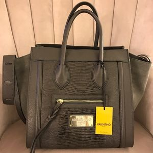 Mario Valentino Handbags - Mario Valentino Cynthia Leather & Suede Gray Tote
