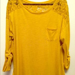 Tops - Mustard colored knot with lace top