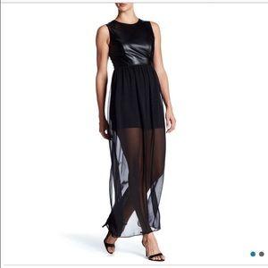 Soprano Dresses & Skirts - 💝SALE💝Soprano Black Faux Leather & Chiffon Maxi