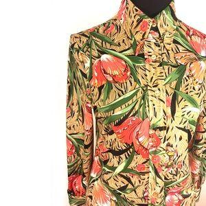 Vintage Floral Polyester Blouse