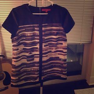 Narciso Rodriguez Tops - Black mixed-print blouse