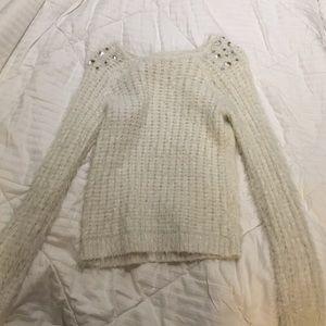white fluffy sweater!!!