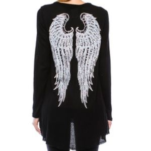 Vocal Black Long Sleeve Top w/Stone Detail