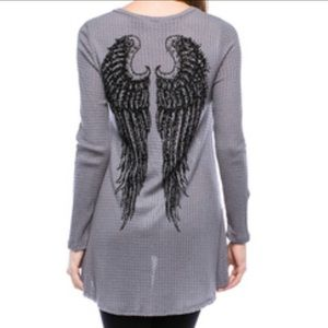 Vocal Gray Long Sleeve Top with Stone Detail