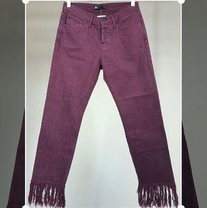 3x1 Denim - 3x1 NYC Crop Fringe Jeans in Mulberry
