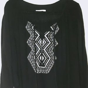 Embroidered , Long Sleeve, Black Peasant Blouse