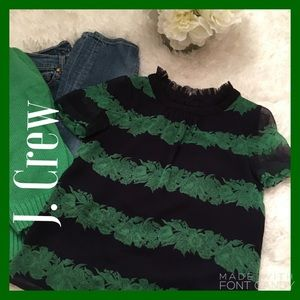 J. Crew Tops - Lovely, Airy J. Crew Green & Navy Blouse Beautiful