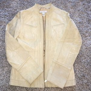 Tan leather jacket by Calvin Klein