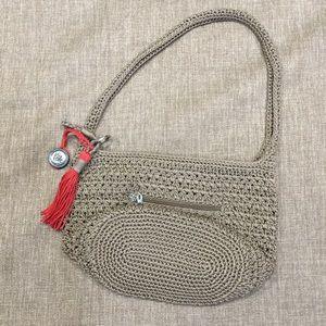 The Sak Handbags - The Sak beige crochet zippered purse with keychain