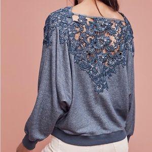 Anthropologie Tops - Meadow Rue Bria Lace Back Sweatshirt, Sz M