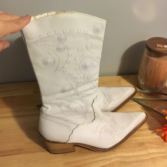 Aldo Shoes | White Leather Cowboy Boots