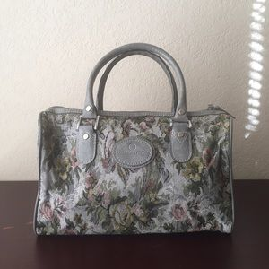 VINTAGE floral tapestry bag gray tote travel