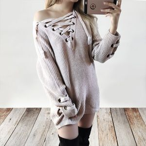 Bare Anthology Sweaters - Lace Up Long Sweater