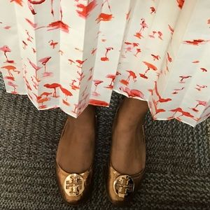 Tory Burch rose gold flats ( used)