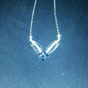 *Blue & CZ Silver Necklace*