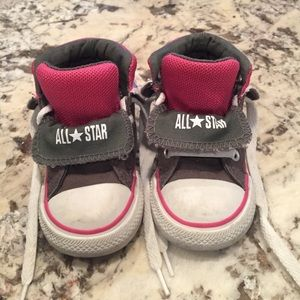Baby girl Converse high top sneakers six 5 toddler