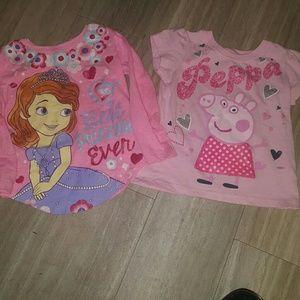 Peppa Pig Other - Girls Peppa Pig/ Sofia shirt bundle 3t