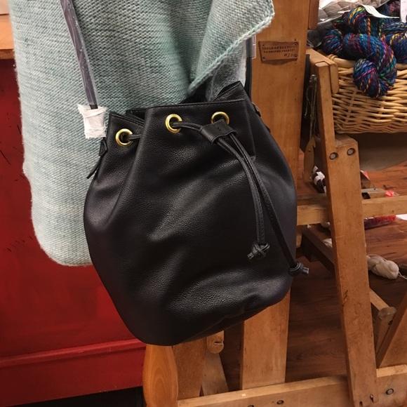 6f52ba0815 Old Navy Faux Leather Black Drawstring Bucket Bag