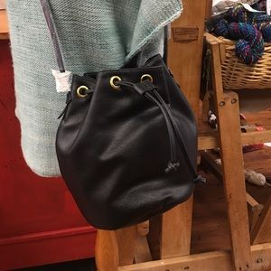 Old Navy Faux Leather Black Drawstring Bucket Bag