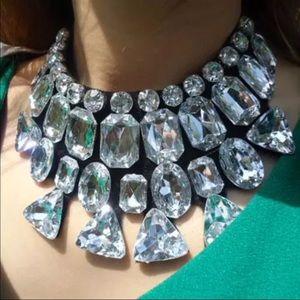Jewelry - Rhinestone Statement Black Ribbon Gem Necklace