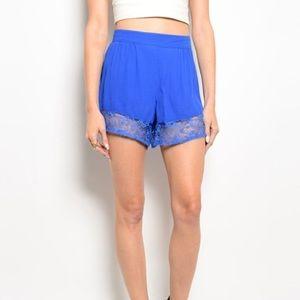 Pants - Royal blue lace trimmed shorts