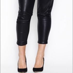 Carmakoma Pants - Faux Leather Crop Ankle Pants Carmakoma