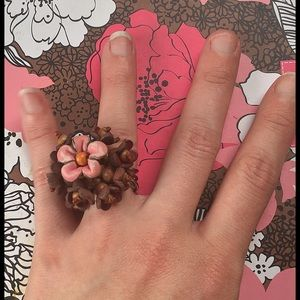 Forever 21 Jewelry - Leather Flower Ring