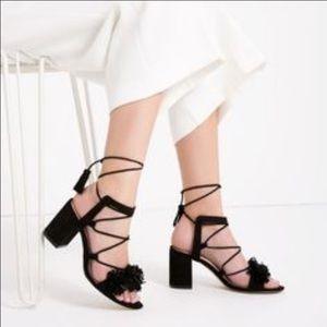 9e9b2096772 Zara Shoes - NWT Black Fringe Heeled Sandals from Zara