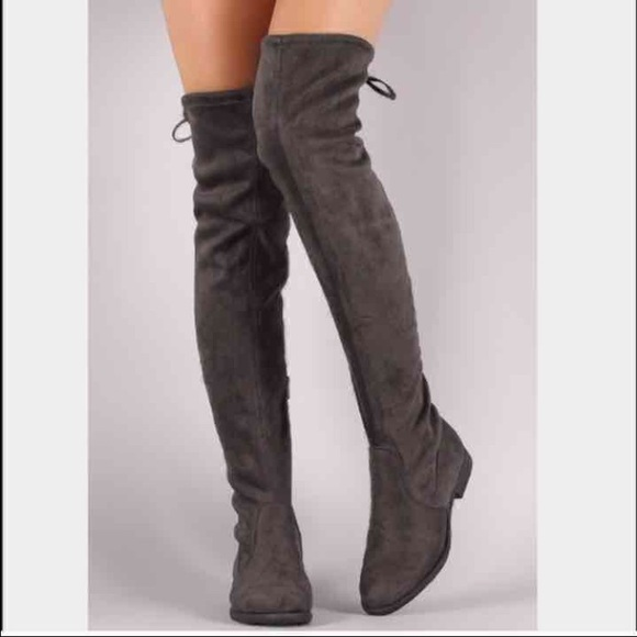 24acb538ee1 🎉SALE New Women's Grey Suede Over Knee Boots