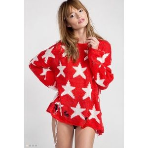 Wildfox Sweaters - WF LENON SEEING STARS SWEATER FIRE RED💗