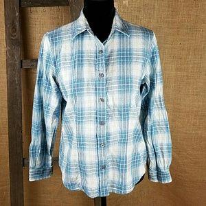 Pendleton women's S western wear blue plaid flanne