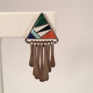 Jewelry - Inverted Triangle Sterling Silver Inlay Earrings