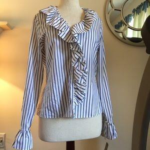 NWT  Lauren by Ralph Lauren striped ruffled blouse