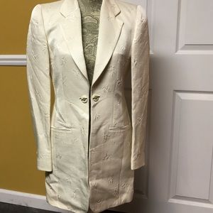 LOUIS FERAUD Jackets & Blazers - LOUIS FERAUD LONG BLAZER OFF WHITE/IVORY 4
