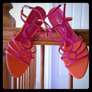 Fuchsia and orange strappy sandals